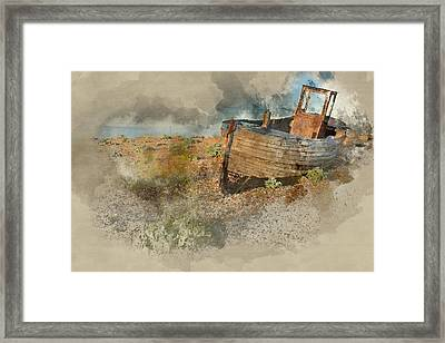 Abandoned Fishing Boat On Beach Landscape At Sunset Framed Print by Matthew Gibson
