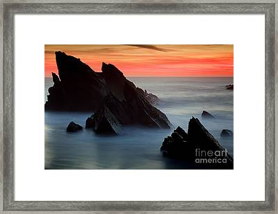 Adraga Beach In Sintra Natural Park Framed Print by Andre Goncalves