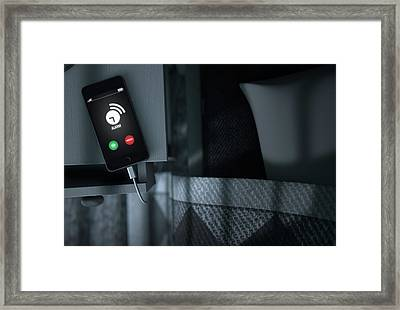 Alarming Cellphone Next To Bed Framed Print by Allan Swart