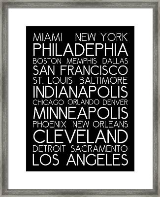 American Cities In Bus Roll Destination Map Style Poster Framed Print by Celestial Images