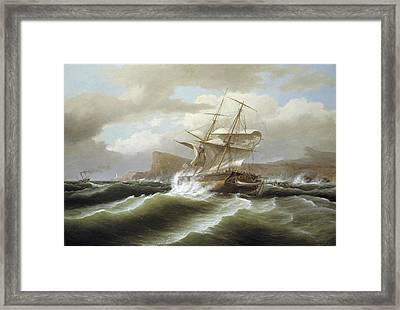 An American Ship In Distress Framed Print by Thomas Birch