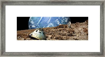An Astronaut Surveys His Situation Framed Print