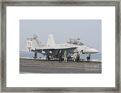 An Fa-18f Super Hornet On The Flight Framed Print by Giovanni Colla