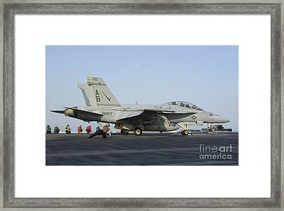 An Fa-18f Super Hornet Ready To Launch Framed Print by Giovanni Colla