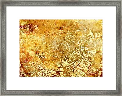 Ancient Mayan Calendar, Abstract Color Background. Framed Print