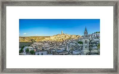 Ancient Town Of Matera At Sunset, Basilicata, Italy Framed Print by JR Photography