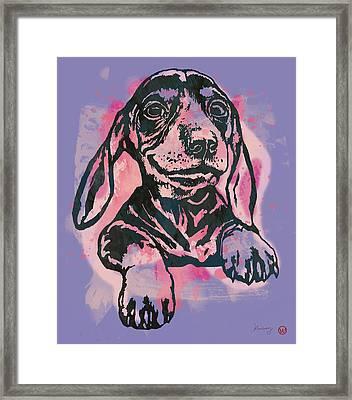 Animal Pop Art Etching Poster - Dog  5  Framed Print by Kim Wang
