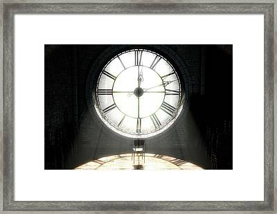 Antique Backlit Clock And Empty Chair Framed Print