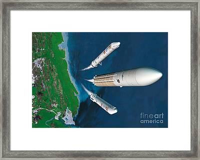 Ariane 5 Rocket Launch, Artwork Framed Print by David Ducros
