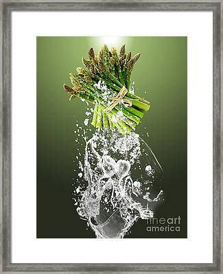 Asparagus Splash Framed Print by Marvin Blaine