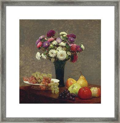 Asters And Fruit On A Table Framed Print by Henri Fantin-Latour