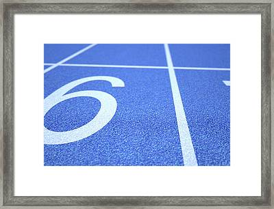 Athletics Track Startline Framed Print by Allan Swart
