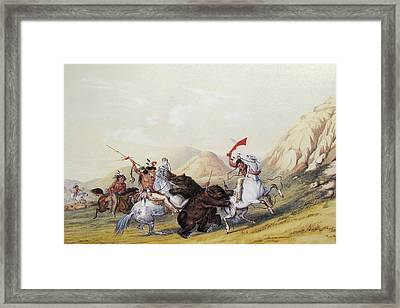 Attacking The Grizzly Bear Framed Print by George Catlin