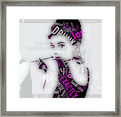 Audrey Hepburn Breakfast At Tiffany's Quotes Framed Print by Marvin Blaine