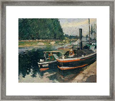 Barges At Pontoise Framed Print by Camille Pissarro