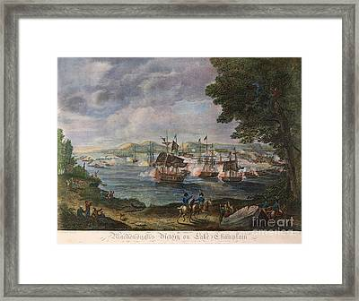 Battle Of Lake Champlain Framed Print by Granger