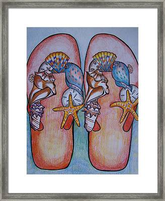 Beach Shoes Framed Print by Leslie Manley