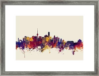 Beijing China Skyline Framed Print by Michael Tompsett