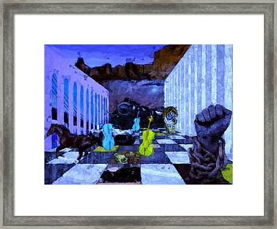 3 Blue Chellos At The Museum Framed Print