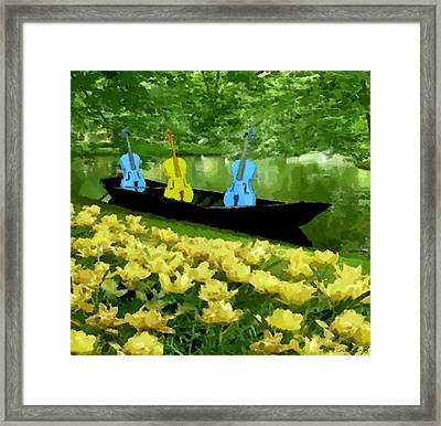 3 Blue Chellos In A Boat Framed Print