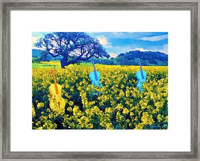 3 Blue Chellos Framed Print