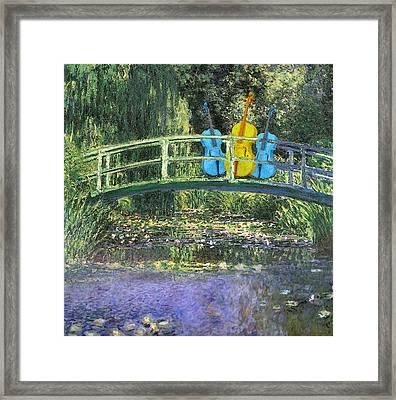 3 Blue Chellos On A Bridge Framed Print