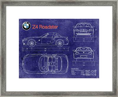 Bmw Z4 Blueprint Framed Print