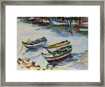 Framed Print featuring the painting 3 Boats I by Xueling Zou