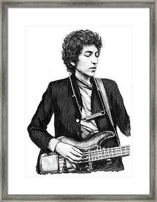 Bob Dylan Drawing Art Poster Framed Print