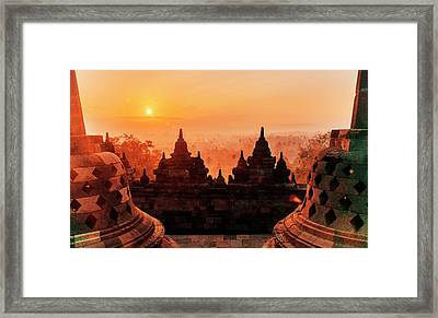 Borobudur Temple At Sunset Sunrise Dusk Framed Print