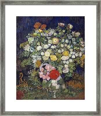 Bouquet Of Flowers In A Vase Framed Print by Vincent van Gogh