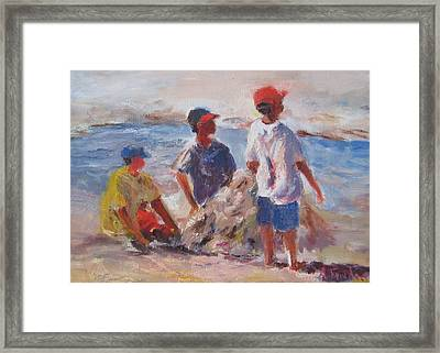 3 Boys And A Beach Framed Print by Albert Fendig