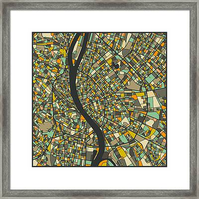 Budapest Map Framed Print by Jazzberry Blue