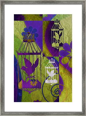 3 Caged Birds Framed Print by Angelina Vick