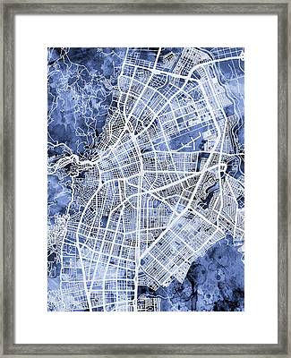 Cali Colombia City Map Framed Print