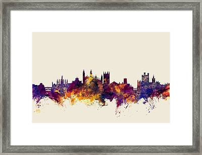 Cambridge England Skyline Framed Print by Michael Tompsett