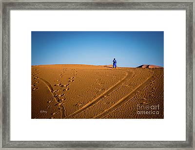 Tracks In The Sahara Framed Print by Rene Triay Photography