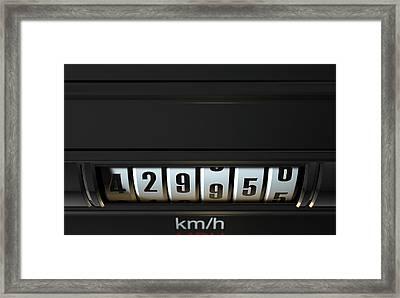 Car Odometer High Framed Print