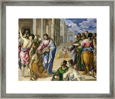 Christ Healing The Blind Framed Print by El Greco