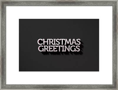 Christmas Greetings Text On Black Framed Print by Allan Swart