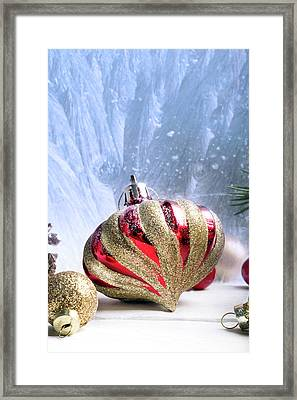 Christmas Red And Golden Ornaments Framed Print by Vadim Goodwill