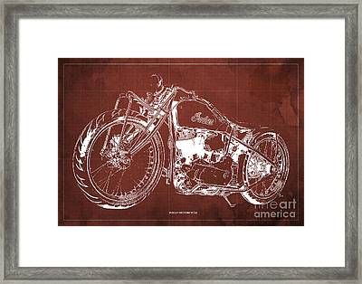Classic Indian Motorcycle Blueprint Framed Print