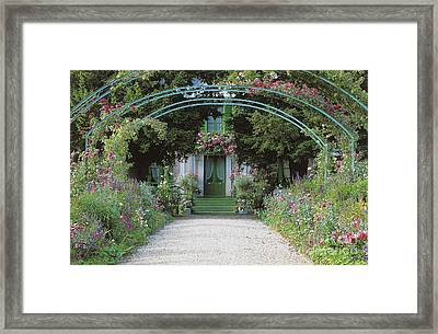 Claude Monet's Garden At Giverny Framed Print by French School