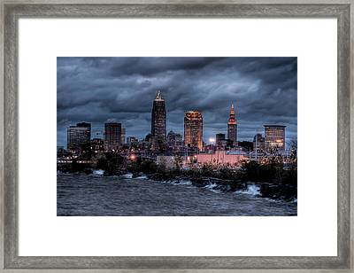 Cleveland Skyline At Dusk From Edgewater Park Framed Print