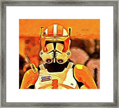 Clone Trooper Commander - Van Gogh Style Framed Print by Leonardo Digenio