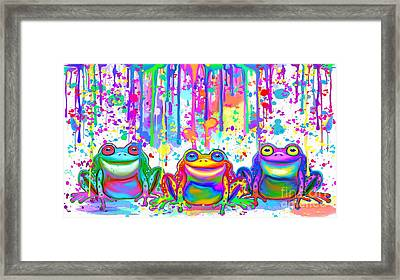 Framed Print featuring the painting 3 Colorful Painted Frogs by Nick Gustafson