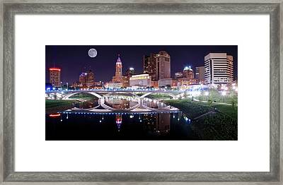 Columbus Ohio Full Moon Pano Framed Print by Frozen in Time Fine Art Photography