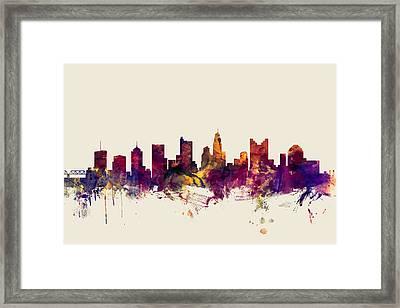 Columbus Ohio Skyline Framed Print by Michael Tompsett