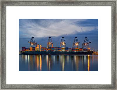 Container Cargo Freight Ship With Working Crane Loading Framed Print