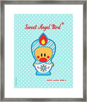 Cute Art - Blue Polka Dot Snowflake Folk Art Sweet Angel Bird In A Nesting Doll Costume Wall Art Print Framed Print